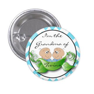 Two Peas in a Pod Twin Baby Boy Shower Theme Pinback Button