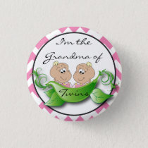 Two Peas in a Pod Twin Baby Girl Shower Theme Pinback Button