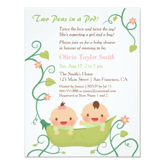 Good Two Peas In A Pod Twin Baby Shower Invitations