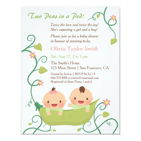 Two Peas In A Pod Twin Baby Shower Invitations Zazzle Com