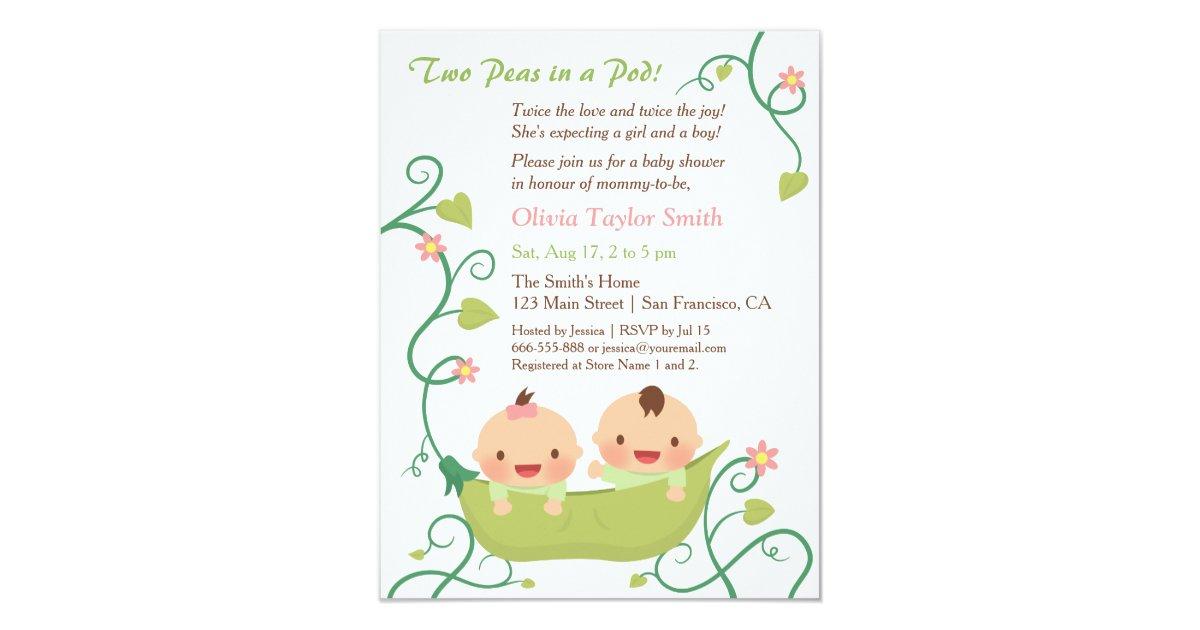 Two Peas in a Pod Twin Baby Shower Invitations | Zazzle.com