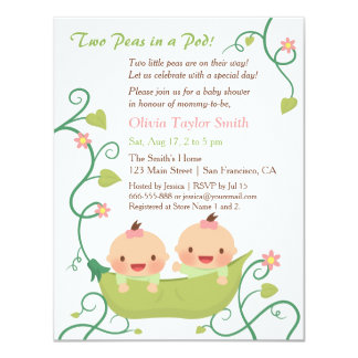 Two Peas in a Pod Twin Girls Baby Shower Card