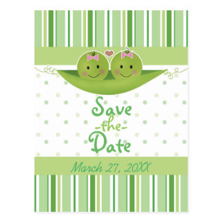 Two Peas in a Pod Twin Girls Baby Shower Sprinkle Postcard