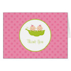 Two Peas in a Pod, Twin Girls Thank You Note Card