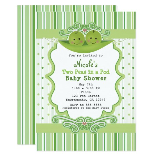 Two peas in a pod twins baby shower invitations zazzle two peas in a pod twins baby shower invitations filmwisefo