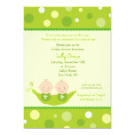 "Two Peas In A Pod Twins Baby Shower Invitations 5"" X 7"" Invitation Card"