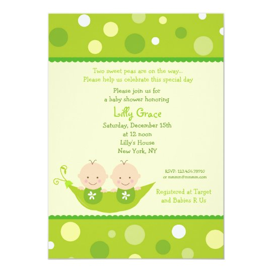 Two peas in a pod twins baby shower invitations zazzlecom for Twin baby shower invitations templates free