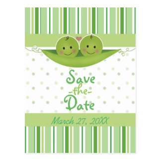 Two Peas In A Pod Twins Baby Shower Save The Date Postcard