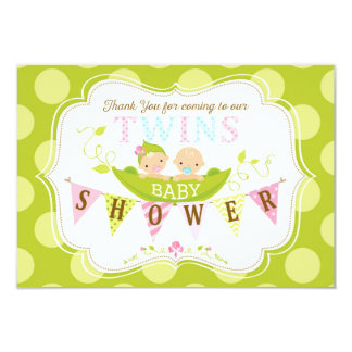 Two Peas in a Pod Twins Boy Girl Thank You Card