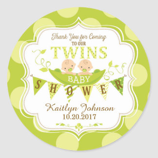 Two Peas in a Pod Twins Thank You Label