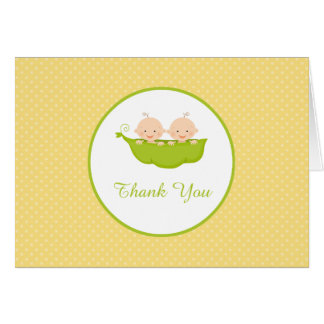 Two Peas in a Pod, Twins Thank You Note Stationery Note Card