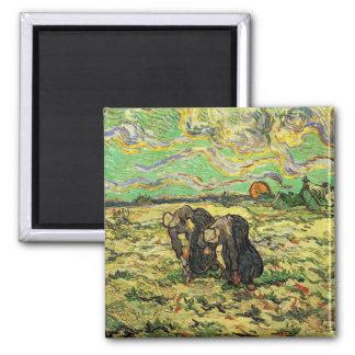 Two Peasant Women Digging in Field by van Gogh Refrigerator Magnet