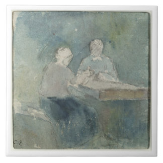 Two Peasants at the Table, c.1874 (w/c on paper) Ceramic Tile
