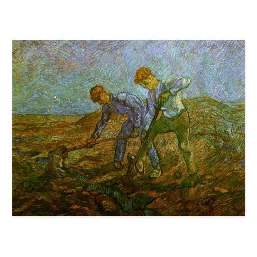 Two Peasants Digging Van Gogh Fine Art Postcard