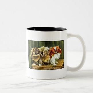Two Pekingese Dogs Two-Tone Coffee Mug