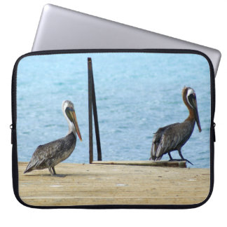"""Two pelicans on the pier, Curacao, Caribbean, 15"""" Computer Sleeve"""