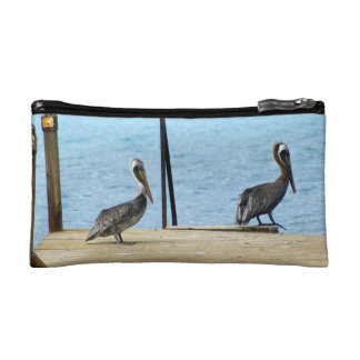 Two pelicans on the pier, Curacao Caribbean, Photo Cosmetic Bag
