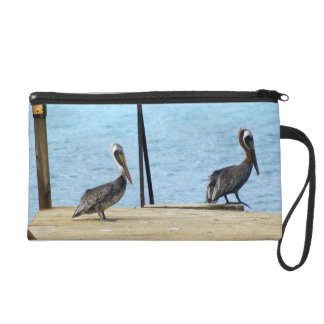 Two pelicans on the pier, Curacao Caribbean, Photo Wristlet Purse