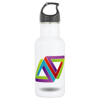 Two pen rose triangles stainless steel water bottle
