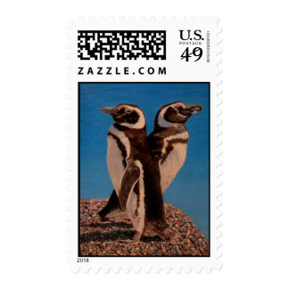 Two Penguins by the Sea Postage Stamps