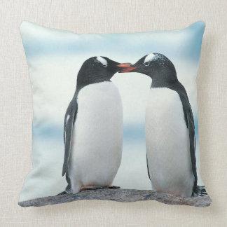 Two Penguins touching beaks Pillows