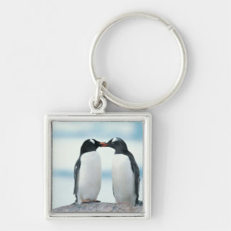 Two Penguins touching beaks Silver-Colored Square Keychain