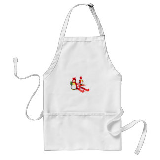 Two penguins with sleigh and christmas tree adult apron