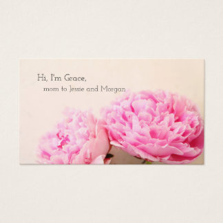 Two peonies pink mom business card