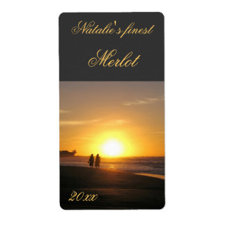 two people at sunset walking wine label