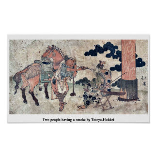 Two people having a smoke by Totoya.Hokkei Posters