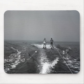 Two people waterskiing mouse pad