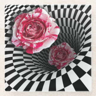 Two peppermint roses in tunnel design glass coaster