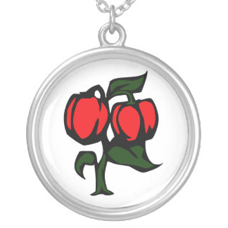 Two Peppers on a plant red green graphic Custom Jewelry