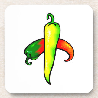 Two peppers one yellow one red graphic drink coaster