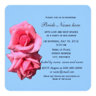 two perfect rose flowers in blue, bridal shower invitations