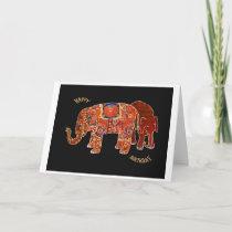 """Two Persian Elephants""Happy Birthday Card"