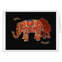 """Two Persian Elephants""Happy Birthday Card"