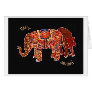 """Two Persian Elephants""Happy Birthday Greeting Card"