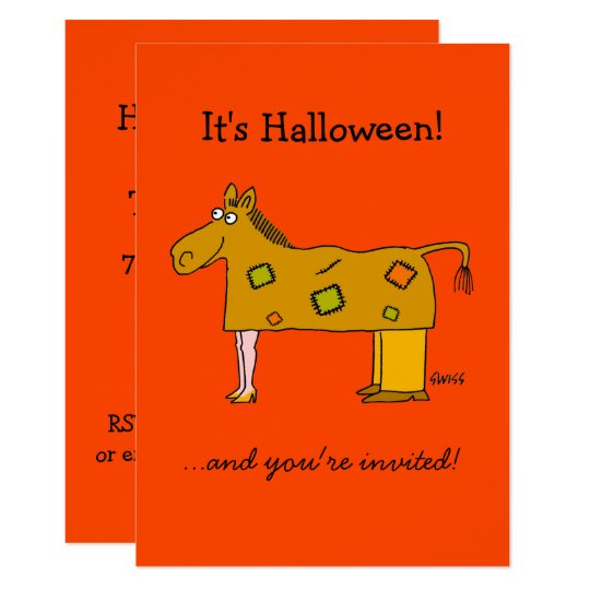 Two Person Horse Costume Funny Halloween Party Invitation