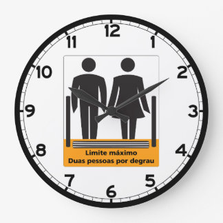 Two Persons by Step Sign, Brazil Large Clock