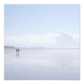 Two persons on the beach in Brittany - card. 5.25x5.25 Square Paper Invitation Card