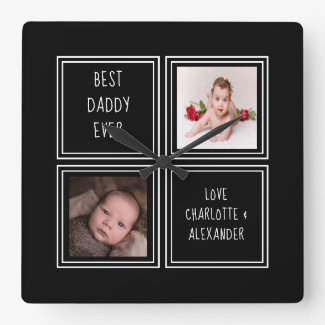 Two Photo and Text Template Square Wall Clock