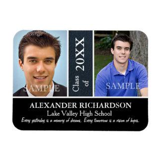 Two Photo Blue Leather Graduation Rectangular Photo Magnet