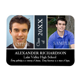 Two Photo Blue Leather Look Graduation Magnet