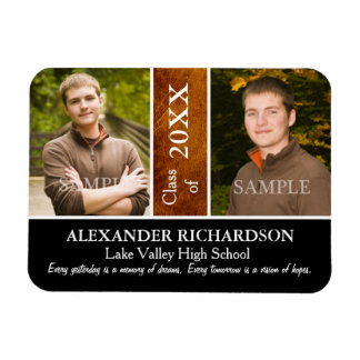 Two Photo Brown Leather Graduation Rectangular Photo Magnet