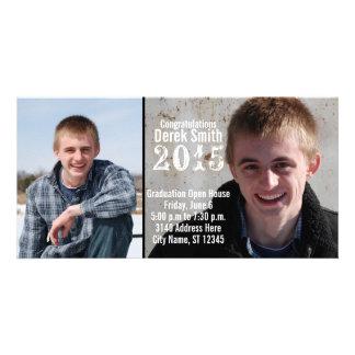 Two Photo Contemporary Graduation Announcement Photo Card