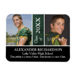 Two Photo Green Leather Graduation Rectangular Photo Magnet
