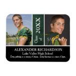 Two Photo Green Leather Graduation Rectangular Photo Magnet