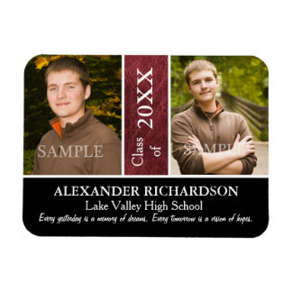 Two Photo Red Leather Graduation Rectangular Photo Magnet