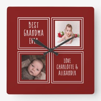Two Photo Red Template Square Wall Clock